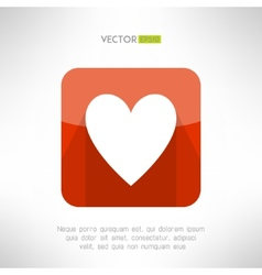 Red white heart icon in modern flat design Social vector image