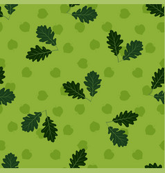 Seamless pattern with hand drawn oak leaves on vector