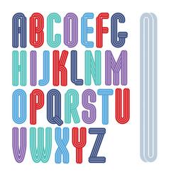 Set capital tall funky alphabet letters vector