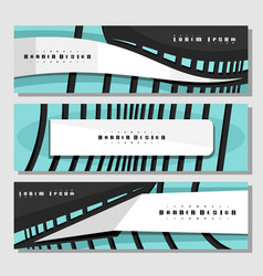 Set horizontal futuristic banners vector