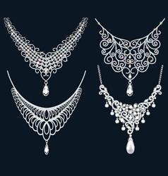 Set necklace wedding female diamond vector