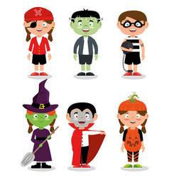 Set of children wearing halloween custom vector