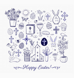set of easter doodles on lined paper background vector image