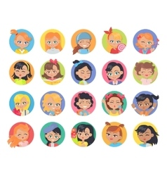 Set of Girl Avatar Userpics Buttons Isolated vector