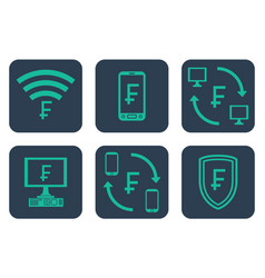 Set of icons about online payments with frank vector