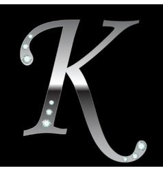 silver metallic letter K vector image