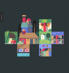Simple things - houses composition vector