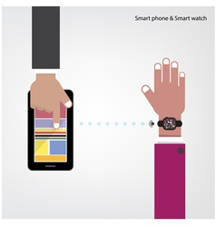Smart watch and smart phone on background vector image