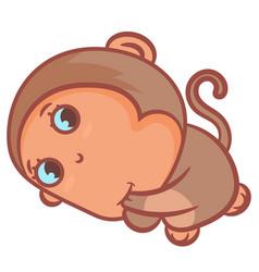 So cute little brown monkey vector