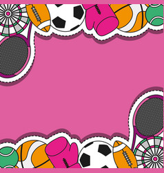 Sport patches sticker background design vector