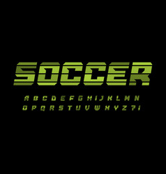 striped style alphabet for soccer and football vector image