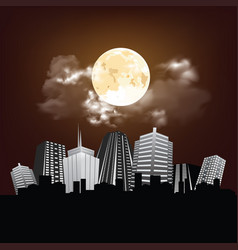 stunning moon over city vector image
