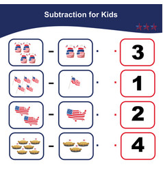 Subtraction usa edition counting game vector