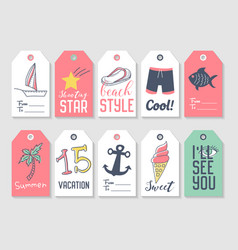 summer beach vacation tags collection vector image