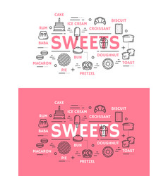 sweets with cake bread and ice cream vector image