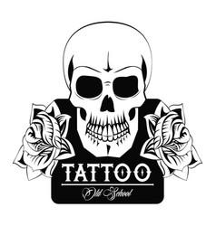 tattoo studio design in black and white vector image