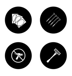 Tattoo studio glyph icons set vector