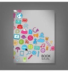 Template design with social network icons vector
