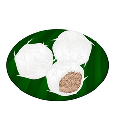 Thai Stuffed Coconut Ball on Banana Leaf vector