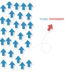 think different a red arrow move different way vector image