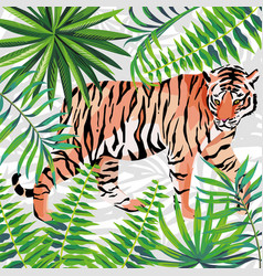 Tiger on tropical jungle white background vector