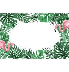 Tropical border frame with jungle leaves flamingos vector