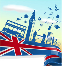 Uk london element on flag with sky background vector