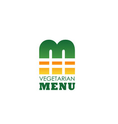 Vegetarian cafe menu letter m icon vector