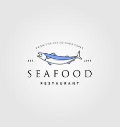 vintage seafood fish logo line art label vector image