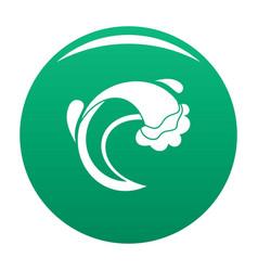 wave sea icon green vector image