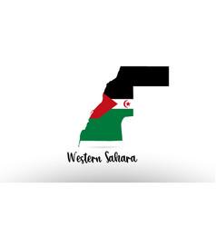 Western sahara country flag inside map contour vector