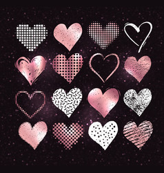 White and rose gold grunge valentine hearts vector