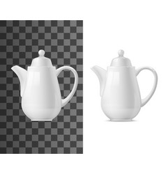 White ceramic pot tea or coffee vector