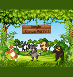 wild animals dancing in the jungle vector image