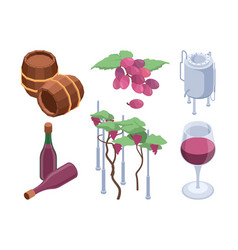 Winery isometric vineyard technology processes vector