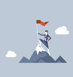 Woman conquering heights flag businesswoman vector