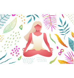 Woman meditation yoga practice in nature colorful vector