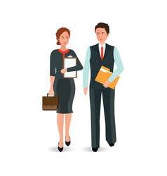 young business man and woman in suit walking vector image