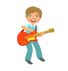 boy playing electric guitar kid performing on vector image