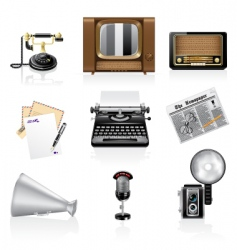 communication icons retro style vector image vector image