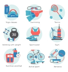 Fitness gym colored icon set vector