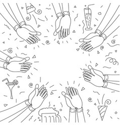 human hands clapping happy party vector image