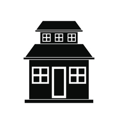 Cottage with a mansard black simple icon vector image vector image