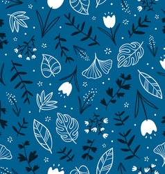 Flowers on blue vector image vector image