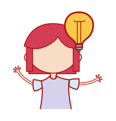 girl with bulb idea and hairstyle design vector image vector image