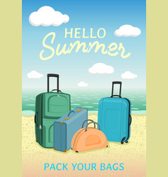 Hello summer poster to advertise travel packages vector