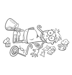 like a kid in a candy store cartoon vector image