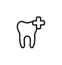 line add tooth icon on white background vector image