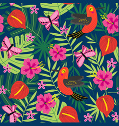 seamless pattern with tropical nature vector image vector image