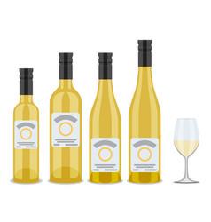 set of bottles of wine flat design vector image vector image